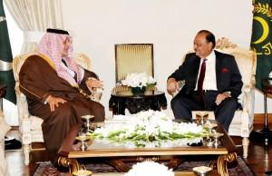 صدر مملکت ممنون حسین کی سعودی وزیر خارجہ پرنس سعودالفیصل بن عبدالعزیز السعود سے ملاقات