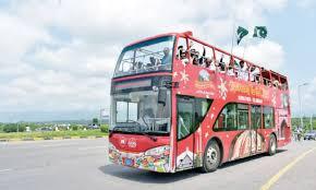 جڑواں شہروں راولپنڈی اور اسلام آباد میں ڈبل ڈیکر سیاحتی بس چل گئی